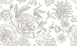 Floral vintage seamless pattern. Peonies and roses. Floral vintage seamless pattern. Black flowers, leaves, branches and berries on white background. Oriental royalty free illustration