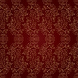 Floral vintage seamless pattern on red background. Vector illustration Royalty Free Stock Photography