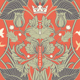 Floral vintage seamless pattern. Retro plants style. Vertical decorative flowers  Stock Photography