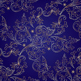 Floral vintage seamless pattern on violet background Royalty Free Stock Images