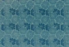 Floral vintage wallpaper. Used floral vintage wallpaper in blue - natural grainy surface Stock Image
