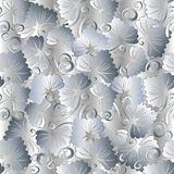 Floral vintage white seamless pattern. Abstract vector backgroun. D with white 3d   flowers, leaves, swirl lines and flourish hand drawn ornaments. Modern Stock Image