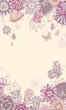 Floral violet background. Ornate floral pattern and butterflies. There is place for your text in the center Stock Photography