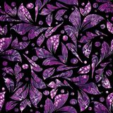 Floral  violet seamless pattern. Luxury patterned leafy vector b. Lack background. Vintage textured ornaments. Polka dots, ornamental leaves. Abstract modern Royalty Free Stock Photography