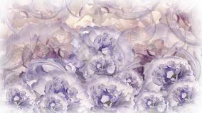 Floral violet-white-gray background. red-white flowers peonies. Floral collage. Flower composition. Nature Royalty Free Stock Image