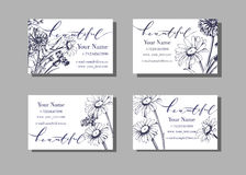 Floral  visiting or business card template Blooming wild flowers, daisies, cornflowers, grass. Vector. Royalty Free Stock Images