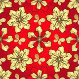 Floral vivid red seamless pattern Royalty Free Stock Photo