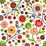 Floral vivid seamless pattern. With colorful flowers Stock Photography