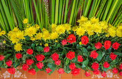 Floral wall arrangement made of Roses and Chrysanthemum in wedding. The Floral wall arrangement made of Roses and Chrysanthemum in wedding Royalty Free Stock Photo