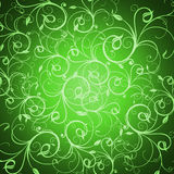 Floral wallpaper. Green floral illustration with flourish patterns Stock Images