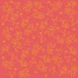 Floral wallpaper on a coral background Royalty Free Stock Photography