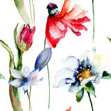 Floral wallpaper with garden flowers. Watercolor painting Stock Photos