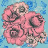 Floral wallpaper pattern with engraved hand Stock Images