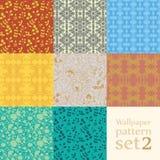 Floral wallpaper pattern set Stock Photos
