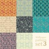 Floral wallpaper pattern set Stock Images