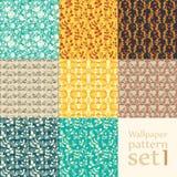 Floral wallpaper pattern set Royalty Free Stock Image