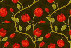 Floral wallpaper with red tulips Stock Photos