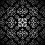 Floral wallpaper silver tile Royalty Free Stock Image
