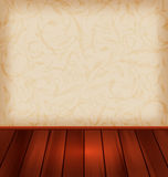 Floral wallpaper and wooden floor Royalty Free Stock Image