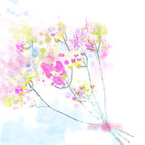 Floral watercolor abstract background for the card or invitation. Cute design stock illustration