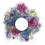Floral watercolor. Abstract floral watercolor with white circle in the center Stock Photos