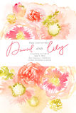 Floral watercolor background with pink flowers Stock Photo
