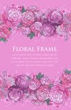 Floral watercolor border Stock Photos