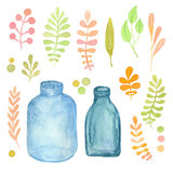 Floral watercolor collection. Leaves, branches and mason jars. Illustration for invitation, wedding and greeting cards. Isolated a Royalty Free Stock Photography