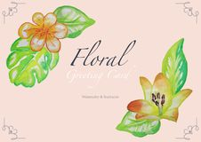 Floral Watercolor Greeting Card with Decorative Corner Frames. Source Illustration for Wedding Invitation or Other Festive Graphic Design, Vector vector illustration
