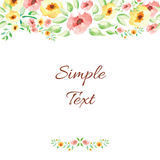 Floral watercolor hand drawn frame. Royalty Free Stock Image