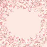Floral watercolor hand drawn frame Royalty Free Stock Images