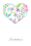 Floral watercolor heart, invitation for celebration, wedding Stock Image