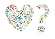 Floral Watercolor Heart and Question Mark. Graceful colorful flowers, plants and blurs with painting effect. Vector Illustration Royalty Free Stock Image