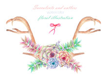 A floral watercolor illustration with the antlers, entwined spring flowers Stock Image