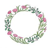 Floral watercolor illustration of pink flowers wreath stock image