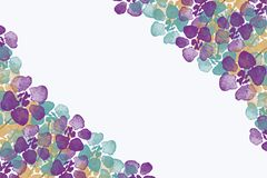 Floral watercolor pattern on a white background stock illustration