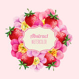 Floral watercolor peony with label symbol. Royalty Free Stock Photo