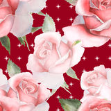 Floral watercolor roses. Seamless pattern Stock Photos