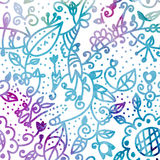 Floral watercolor seamless background in blue Royalty Free Stock Images