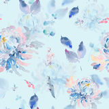 Floral watercolor seamless pattern with chrysanthemums. Gentle abstract natural floral watercolor seamless pattern with chrysanthemums and leaves. Botanical Stock Images