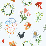 Floral watercolor seamless pattern for spring Stock Photo