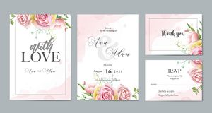 Floral watercolor wedding invitation template set stock illustration