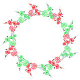 Floral watercolor wreath with green and red flowers on a white background Stock Image