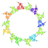 Floral watercolor wreath with rainbow flowers and green bouquets on a white background Stock Photo