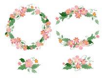 Floral watercolor wreaths, frames, bouquets Stock Photos