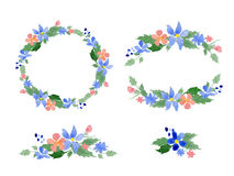 Floral watercolor wreaths, frames, bouquets Stock Photo