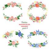 Floral watercolor wreaths, frames, bouquets Stock Images