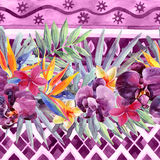 Floral watercolour border. Stock Images