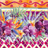 Floral watercolour border. Royalty Free Stock Images