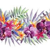Floral watercolour border. stock illustration